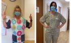 Allachburn Care Home staff Marian Duncan and Lorna Gordine model the scrubs created by Finzean Scrub Hub