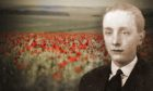 Poppy fields in France, inset, Aberdeen soldier Angus McLeod who was killed in action just weeks before the armistice in 1918.