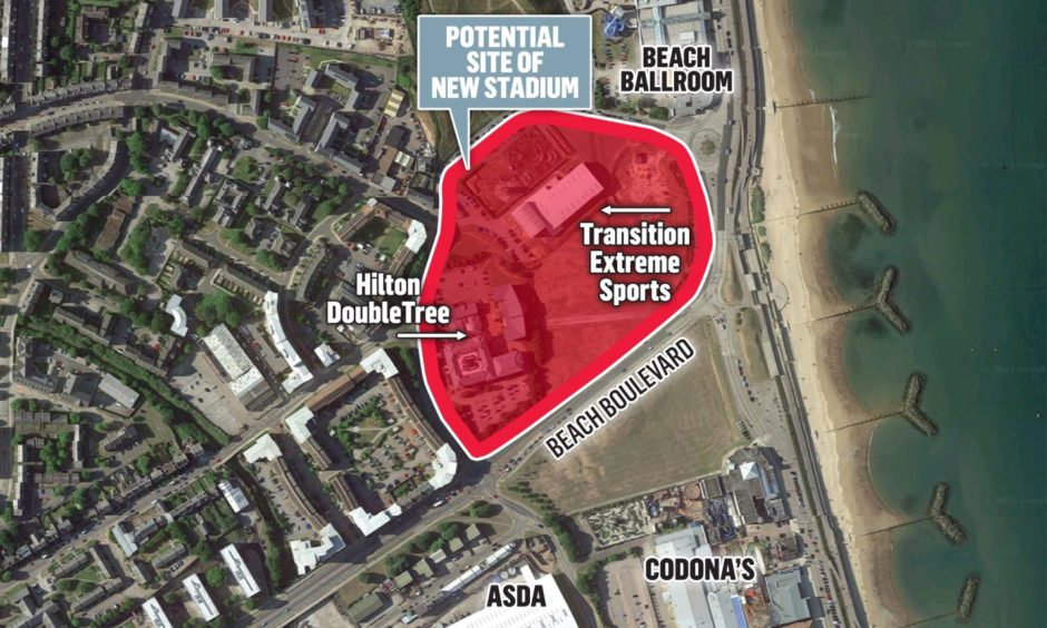 Plans for a new stadium for Aberdeen to be potentially built on the site of Hilton Double Tree.