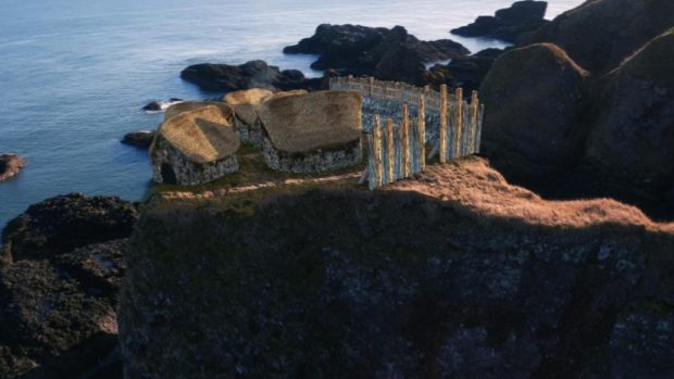 An artists impression of the Pictish fort at Dunnicaer, near Dunnottar Castle, which was identified as the oldest ever discovered, dating back as far as the third or fourth centuries.