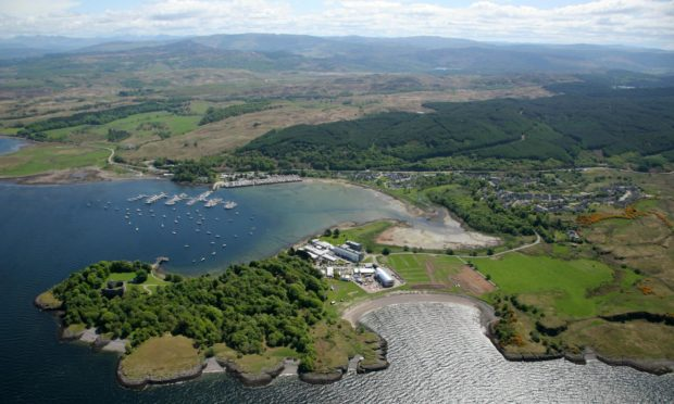Dunstaffnage, with part of the route in the background.