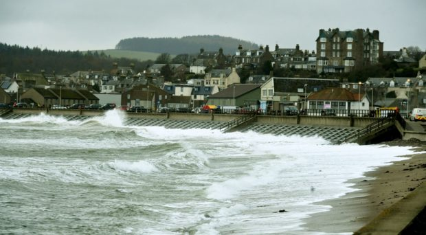 Flood barriers are installed in Stonehaven last year. Picture by Chris Sumner