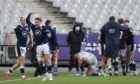Scotland's Stuart Hogg, second left, celebrates after Scotland's Duhan Van der Merwe scored the winning try. Dobie travelled with the squad to Paris for the game.