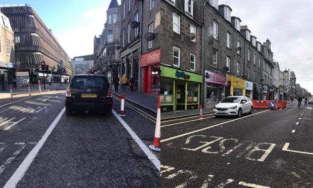 Safety concerns have been raised due to the number of cars parking and driving in the mandatory cycle lane in George Street, Aberdeen