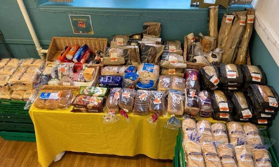 Some of the bread and bakery items donated by Co-Op and Tesco to The Haven Community Larder.