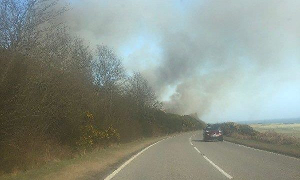 To go with story by Christopher MacLennan. A wildfire near Helmsdale has closed part of the A9 Picture shows; Helmsdale wildfire. Helmsdale. Supplied by Liam Worrall Date; 17/03/2021