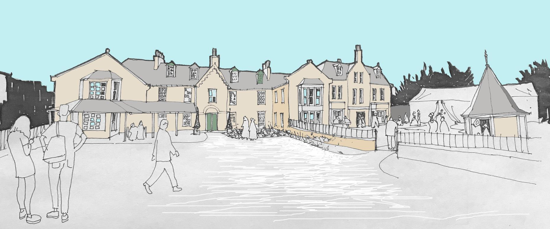 A concept Sketch by EJ:KN was created to show the possibilities for the future Huntly Arms.