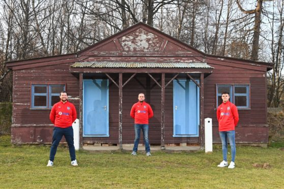 Chairman Jake Gordon, Manager Lee Donald and Captain Greig Donald at the Villa Park pavilion. It has served the club well, but a fundraising effort is underway to have it replaced.
