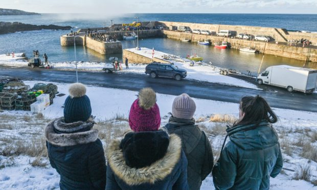 Scenes from Peaky blinders filmed at Portsoy harbour last month.