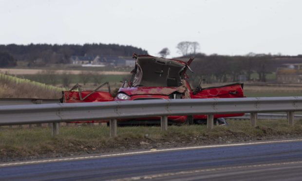 One of the vehicles involved in the crash