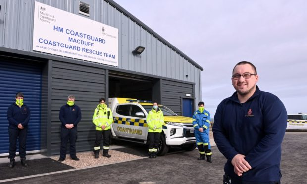 Senior coastal operations officer Calum Christie with members of the Macduff Coastguard crew.