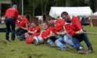 The Elgin tug of war team competing at the Aberdeen Highland Games in 2019.