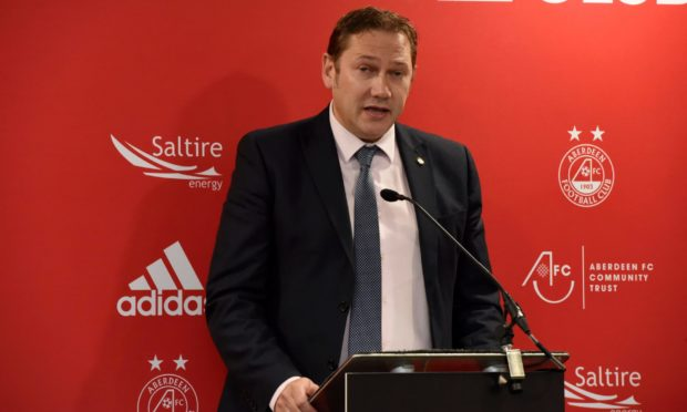 Council co-leader Douglas Lumsden, speaking at the opening of Aberdeen FC's new Kingsford training complex in 2019.