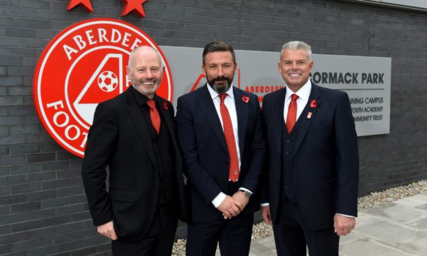 Dave Cormack (right) with Derek McInnes and Stewart Milne at the opening of Cormack Park in 2019.