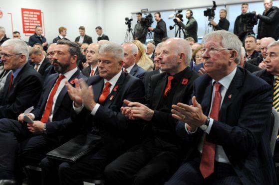Sir Alex Ferguson (right), with Derek McInnes, Dave Cormack and Stewart Milne.