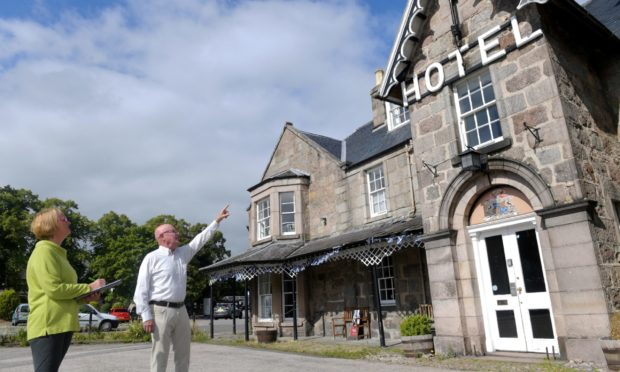 Claire Fraser and Dave Marshall outside the Huntly Arms in August 2020.