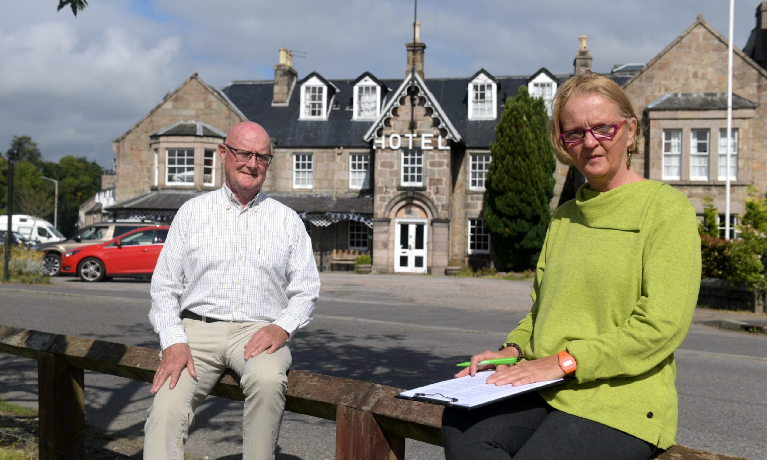 Dave Marshall and Claire Fraser outside the Huntly Arms.