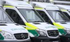 Ambulances at Aberdeen ambulance station.