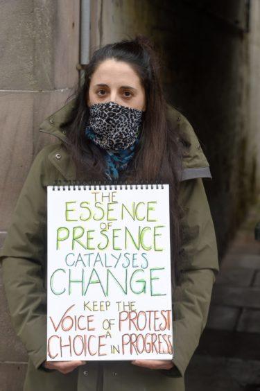 Demonstrators on Forres High Street.