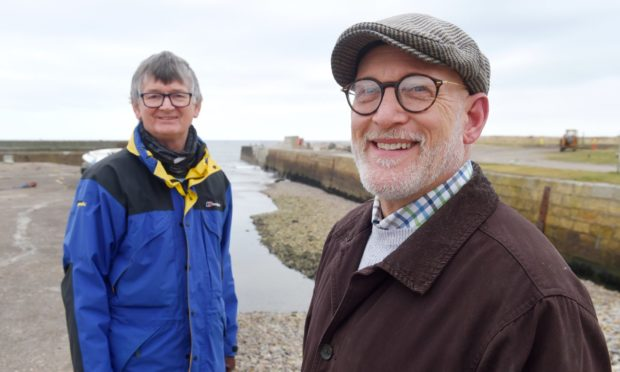 Portgordon Community Harbour Group vice-chairman Colin Hanover and chairman Scott Sliter at the port.