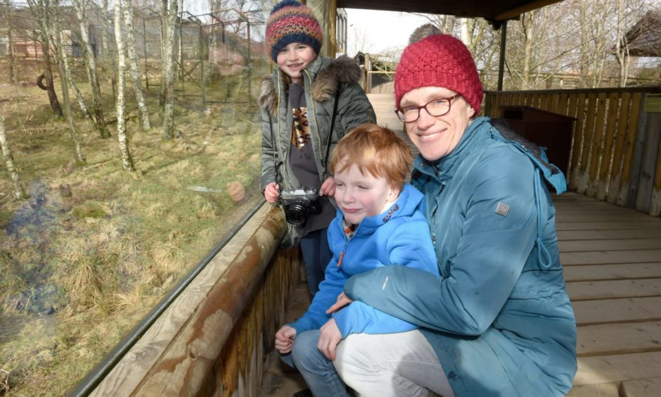Amy Holtby with son Archie (6) and friend Amelia Clark (7) enjoy the sights of the park.