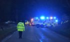 Emergency services at the crash on the A947 Fyvie to Aberdeen road
