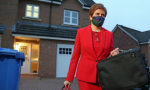 Nicola Sturgeon leaves home in Glasgow to head to Holyrood in Edinburgh to give evidence to the Scottish Parliament's inquiry into her government's unlawful investigation of the former First Minister Alex Salmond.