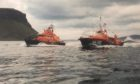 Portree Trent (left) and Waveney (right) lifeboats. Portree RNLI