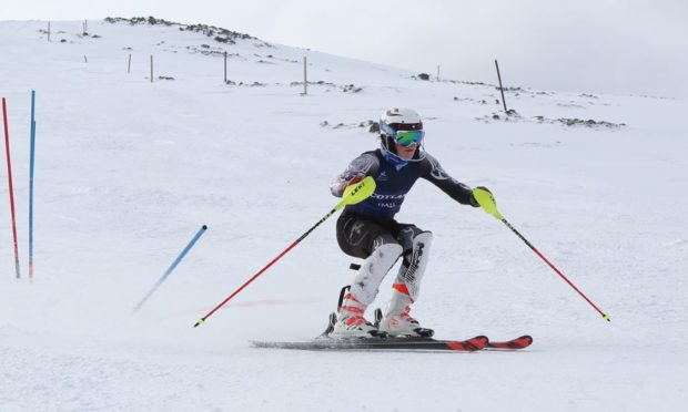 Elite skier Alistair Hall who had the slopes to himself at Glencoe Mountain