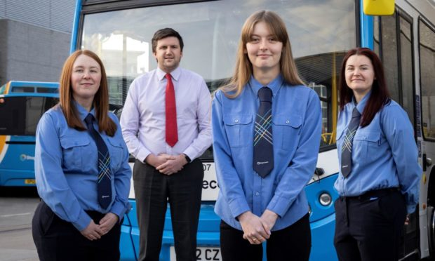 Stagecoach drivers Amber Beattie, Danielle Martin and Nikki Shewan with managing director Peter Knight (second from left).