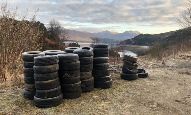 More than 150 tyres have been dumped close to the Attadale Estate in Strathcarron.