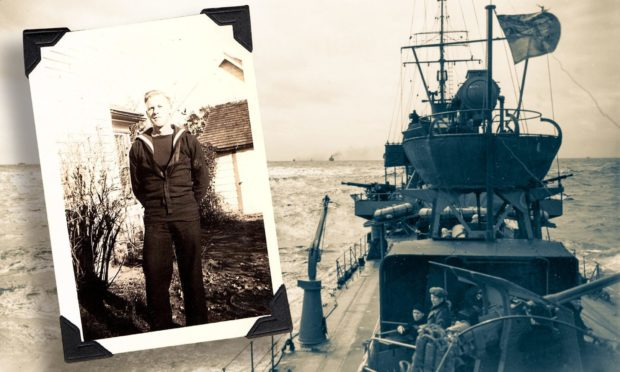 A vessel taking part in the Atlantic Convoys during the Second World War, inset, sailor John Mitchell.