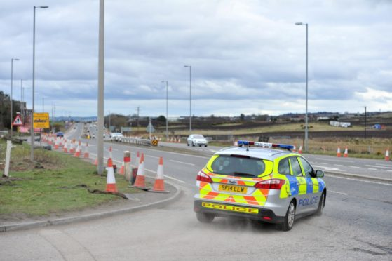 Police speed checking vehicles on the A90. Picture by Heather Fowlie