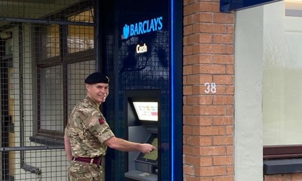 The new cash point is outside the perimeter fence at the guardhouse at Kinloss Barracks.