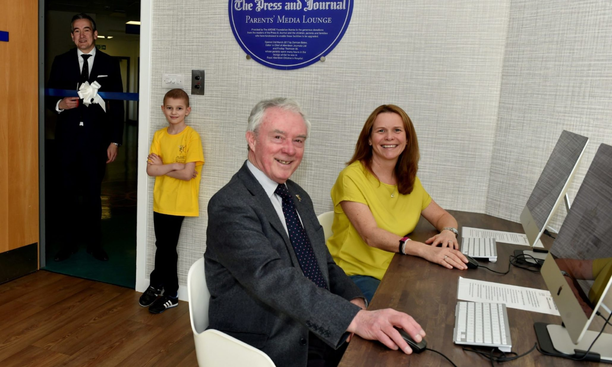 The Press & Journal Media Lounge was officially opened by editor-in-chief Damian Bates, pictured with nine-year-old Finlay Thompson, mum Tracy and Joe Mackie.