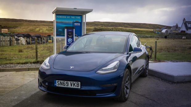 Tidal power charging a car