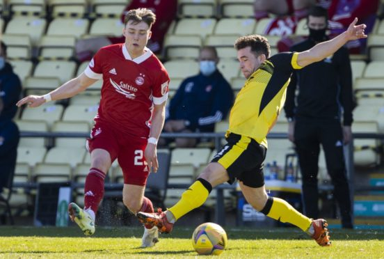 Ethan Ross in action for Aberdeen against Dumbarton.