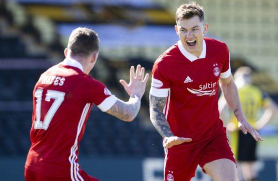 Callum Hendry celebrates his goal at Dumbarton on Saturday