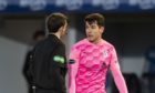 Inverness' Nikolay Todorov speaks with referee Steven Reid during a Scottish Championship match between Greenock Morton and Inverness Caledonian Thistle.