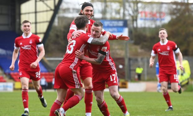 Jonny Hayes celebrates his goal at St Johnstone