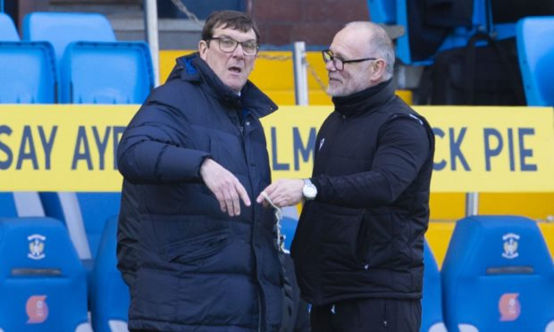 Kilmarnock manager Tommy Wright (left) and Ross County manager John Hughes at full-time.