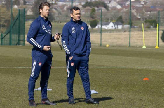 New Aberdeen manager Stephen Glass (R) and assistant first-team coach Allan Russell.