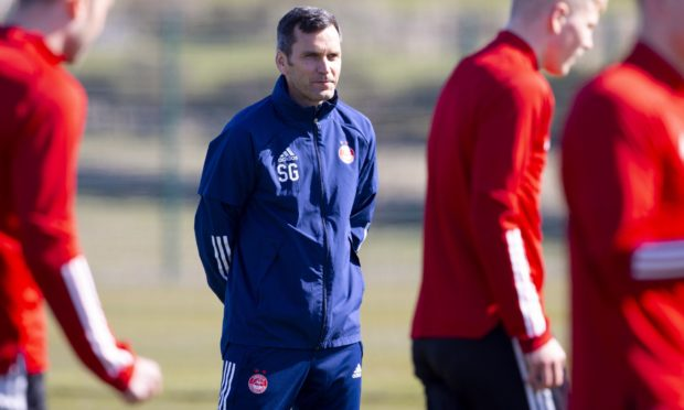 New Aberdeen manager Stephen Glass during a training session at Cormack Park.