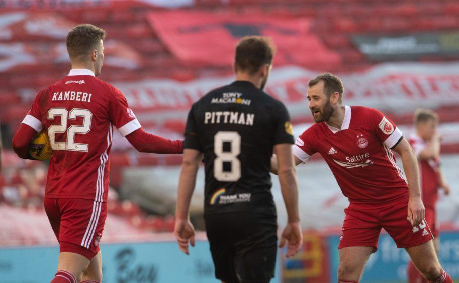 Aberdeen goalscorers Florian Kamberi and Niall McGinn.