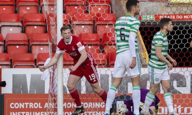 Lewis Ferguson celebrates his opener for Aberdeen.