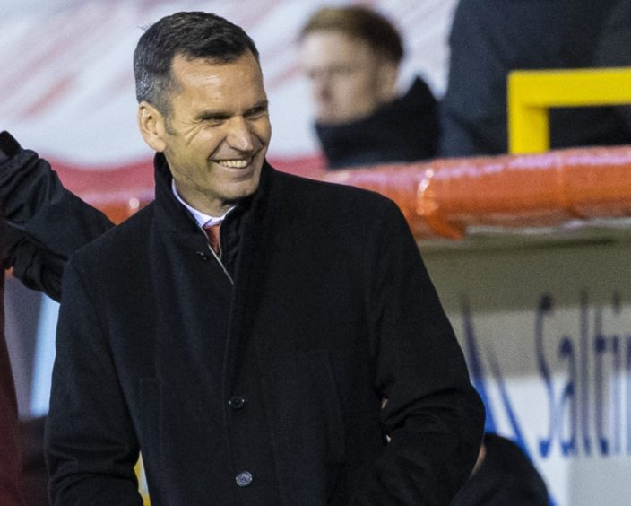 Aberdeen manager Stephen Glass during a Scottish Premiership match between against Celtic.