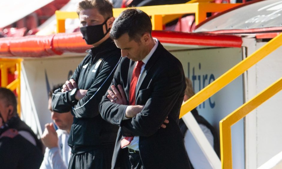 Aberdeen boss Stephen Glass suffered his first defeat against Dundee United.