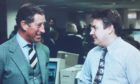 Writer David Knight (right) meets Prince Charles in the P&J offices during the 1990s
