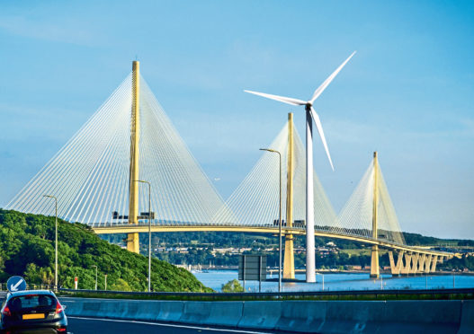 IMPRESSION: A giant wind turbine next to Queensferry Crossing.