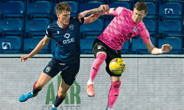 Inverness forward Shane Sutherland, right, in action during the cup win over Ross County.